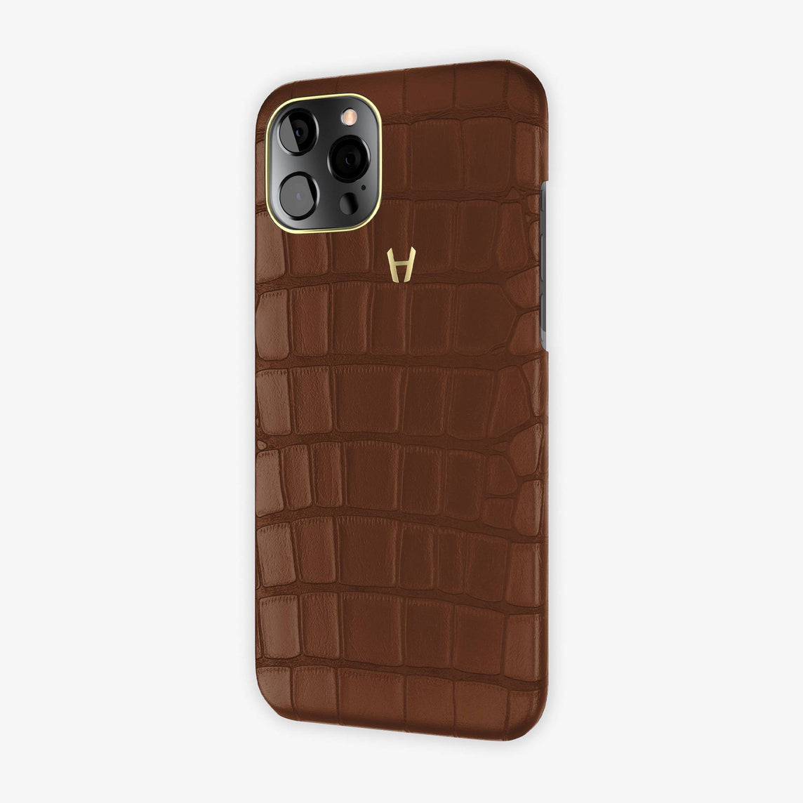Alligator Case iPhone 12 Pro Max | Brown - Yellow Gold