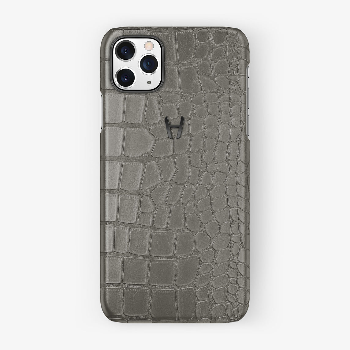 Alligator Case iPhone 11 Pro Max | Pearl Grey - Black Steel