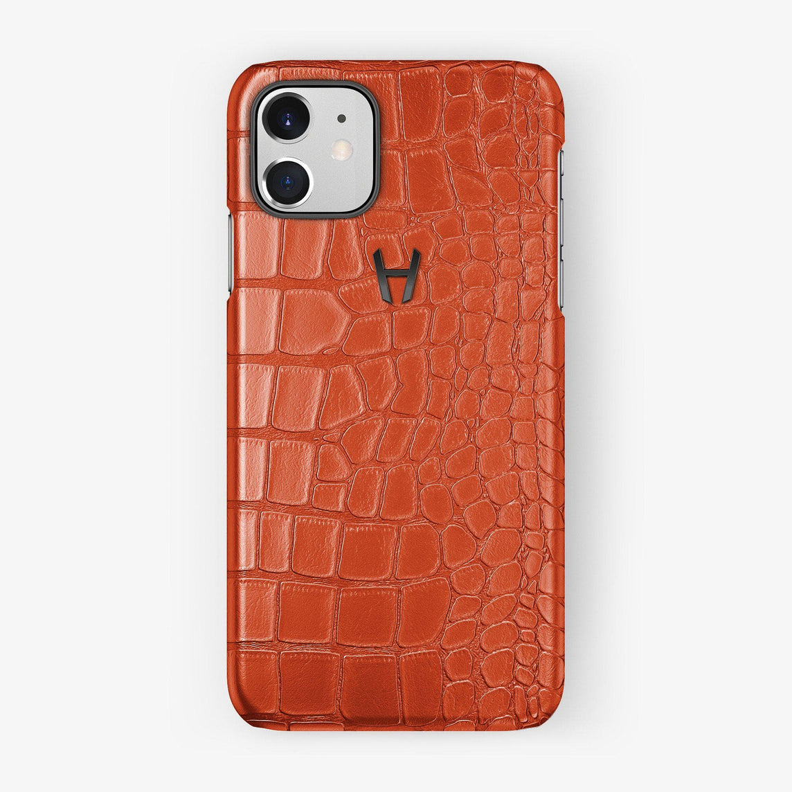 Alligator Case iPhone 11 | Orange Sunset - Black