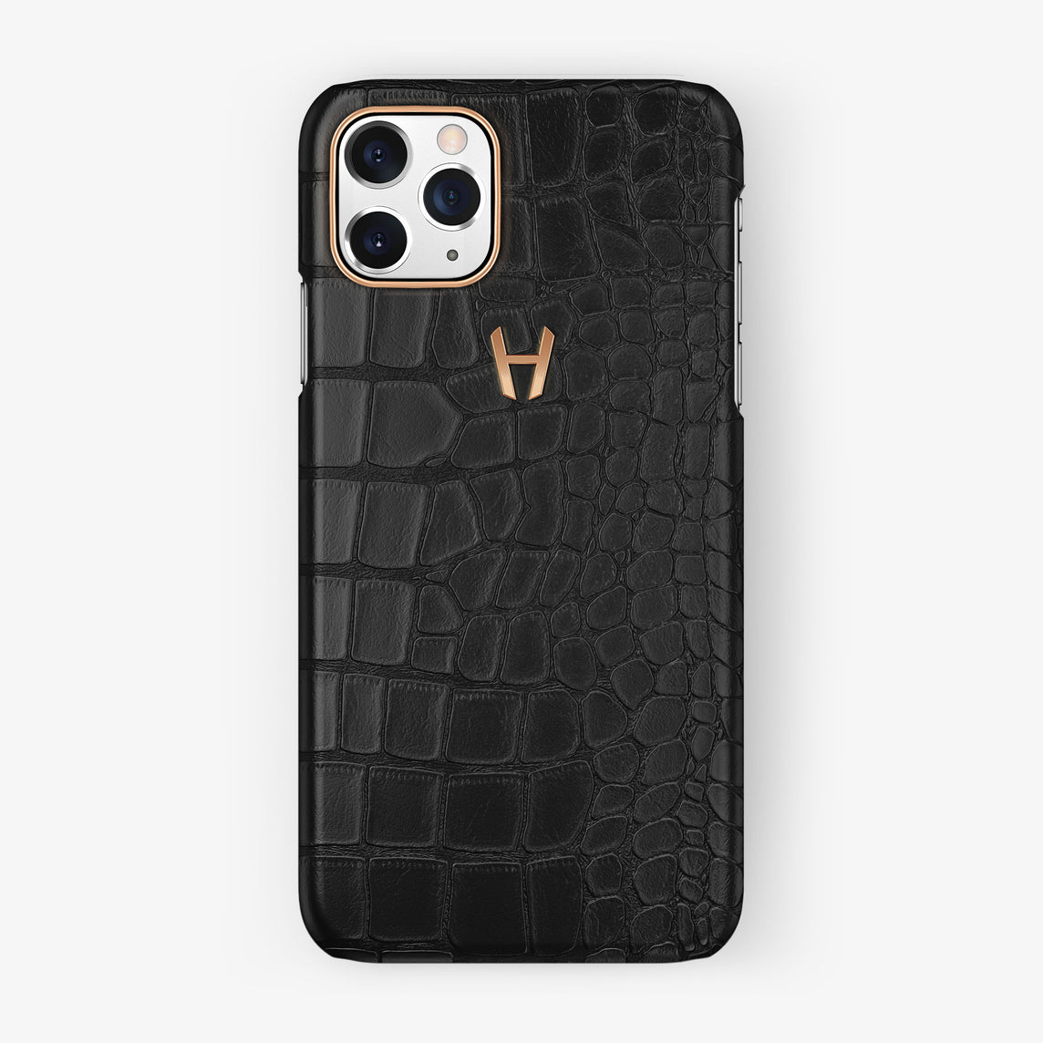 Alligator Case iPhone 11 Pro | Black - Rose Gold
