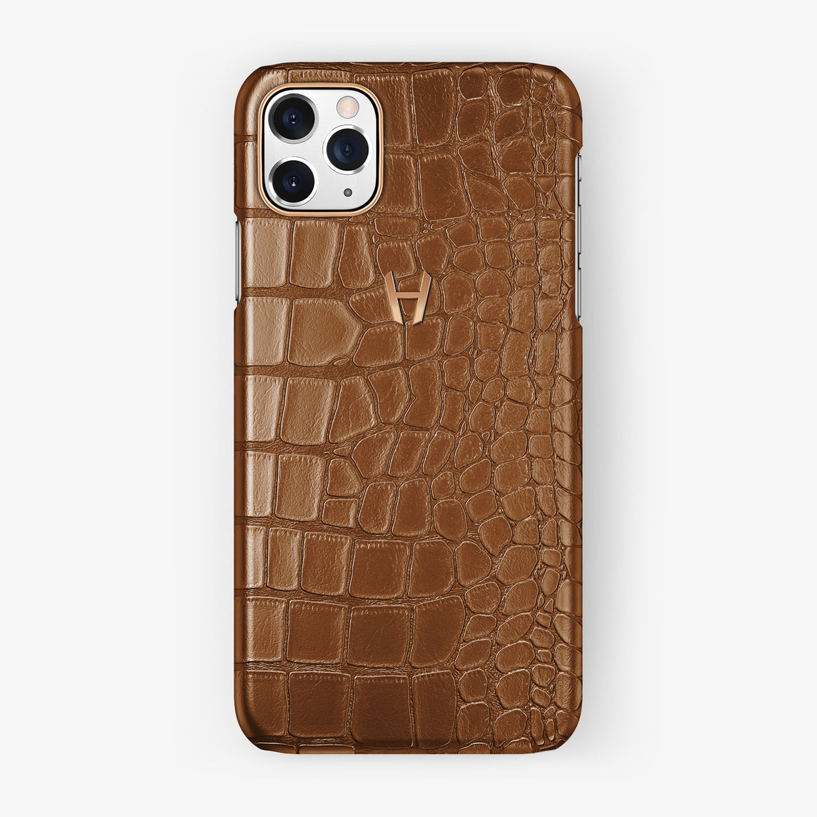 Alligator Case iPhone 11 Pro Max | Brown Cognac - Rose Gold