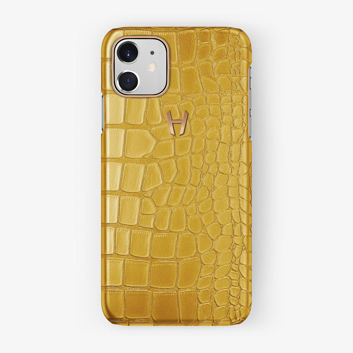 Alligator Case iPhone 11 | Yellow - Rose Gold