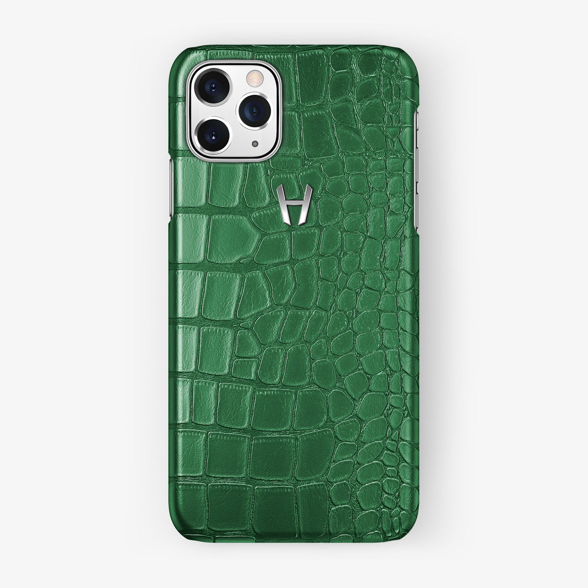 Alligator Case iPhone 11 Pro | Green Emerald - Stainless Steel