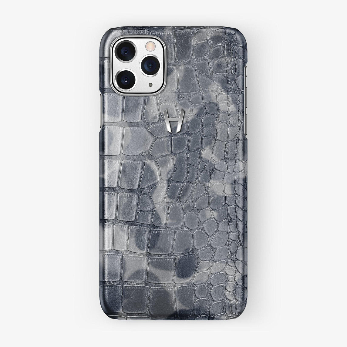 Alligator Case iPhone 11 Pro | Grey Camouflage - Stainless Steel