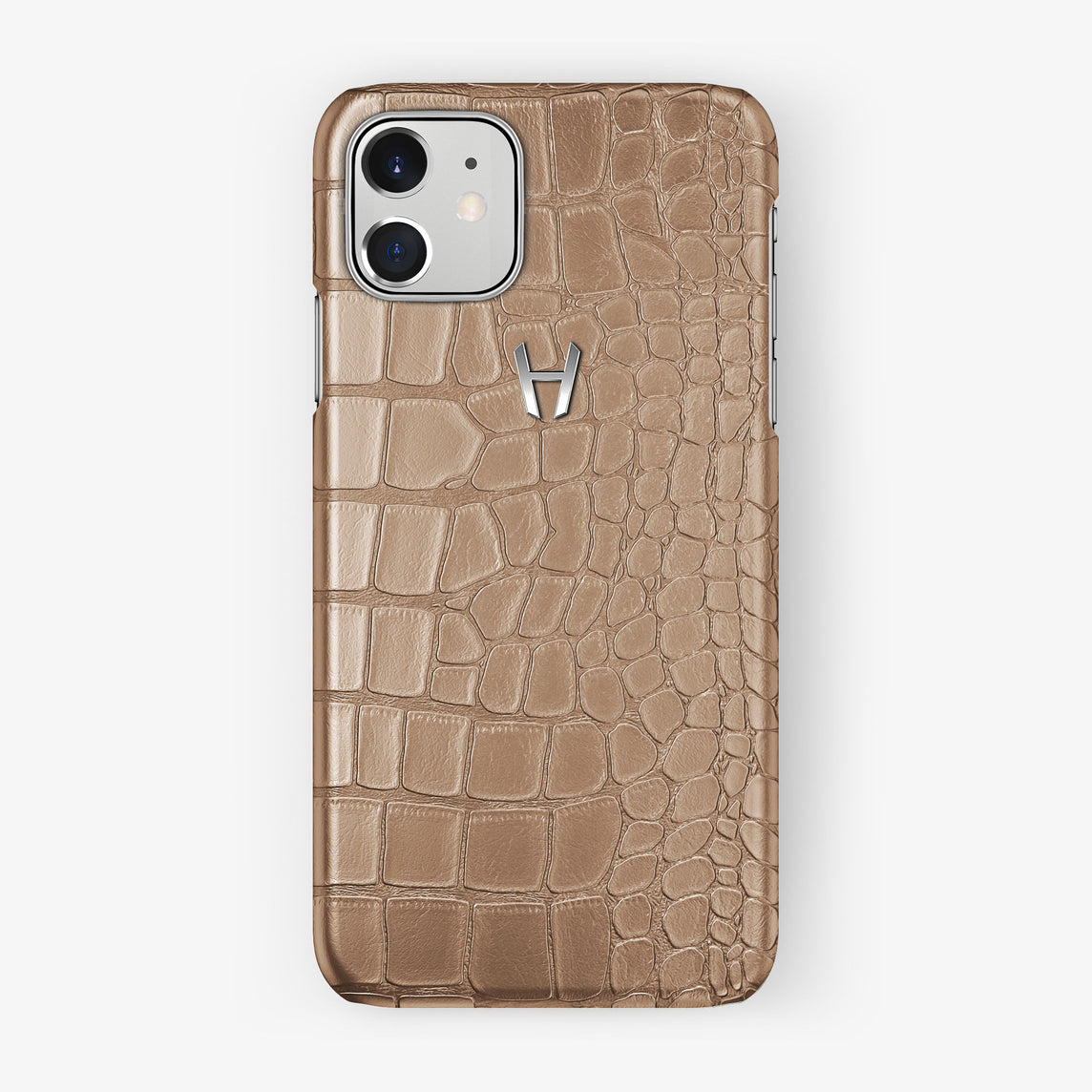 Alligator Case iPhone 11 | Latte - Stainless Steel