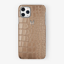 Alligator Case iPhone 11 Pro | Latte - Stainless Steel
