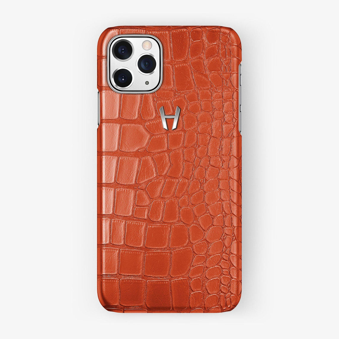 Alligator Case iPhone 11 Pro | Orange Sunset - Stainless Steel