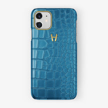 Alligator Case iPhone 11 | Blue Lagoon - Yellow Gold
