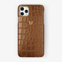 Alligator Case iPhone 11 Pro Max | Brown Cognac - Yellow Gold
