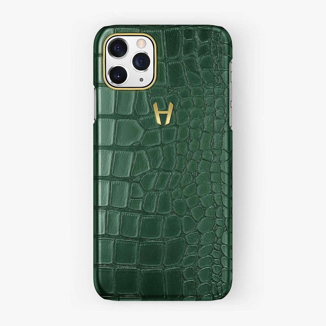 Alligator Case iPhone 11 Pro | Green - Yellow Gold