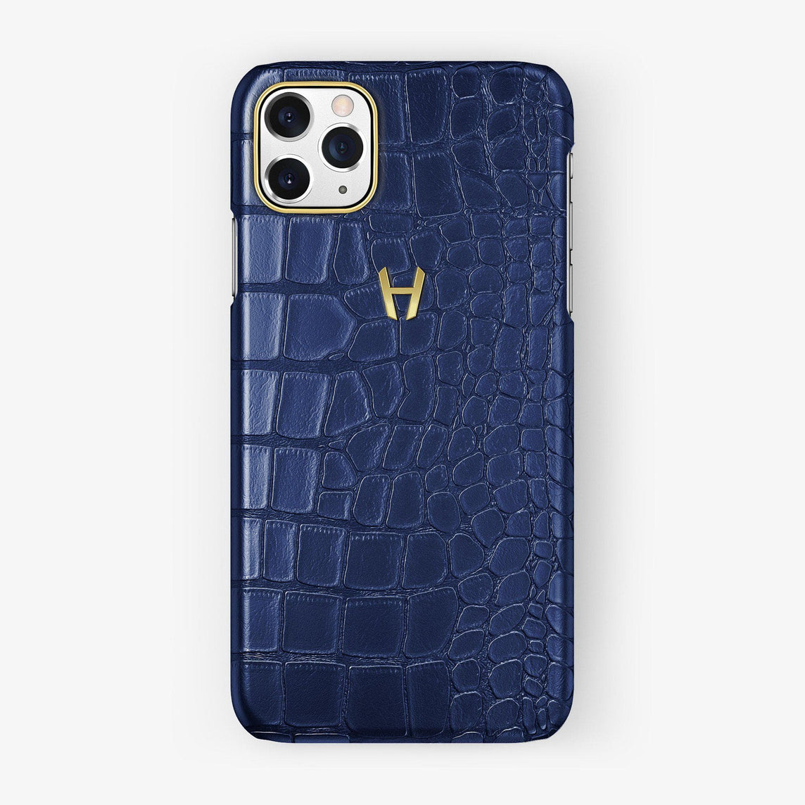 Alligator Case iPhone 11 Pro Max | Navy Blue - Yellow Gold