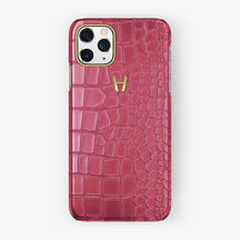 Alligator Case iPhone 11 Pro | Pink Girly - Yellow Gold