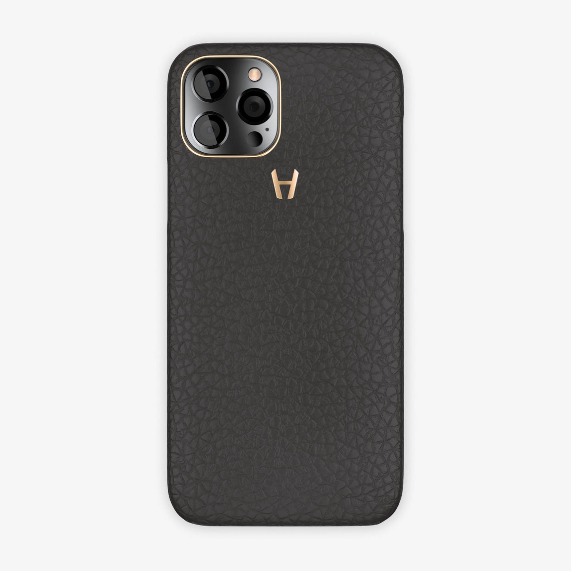Calfskin Case Apple iPhone 12 Pro | Anthracite - Rose Gold