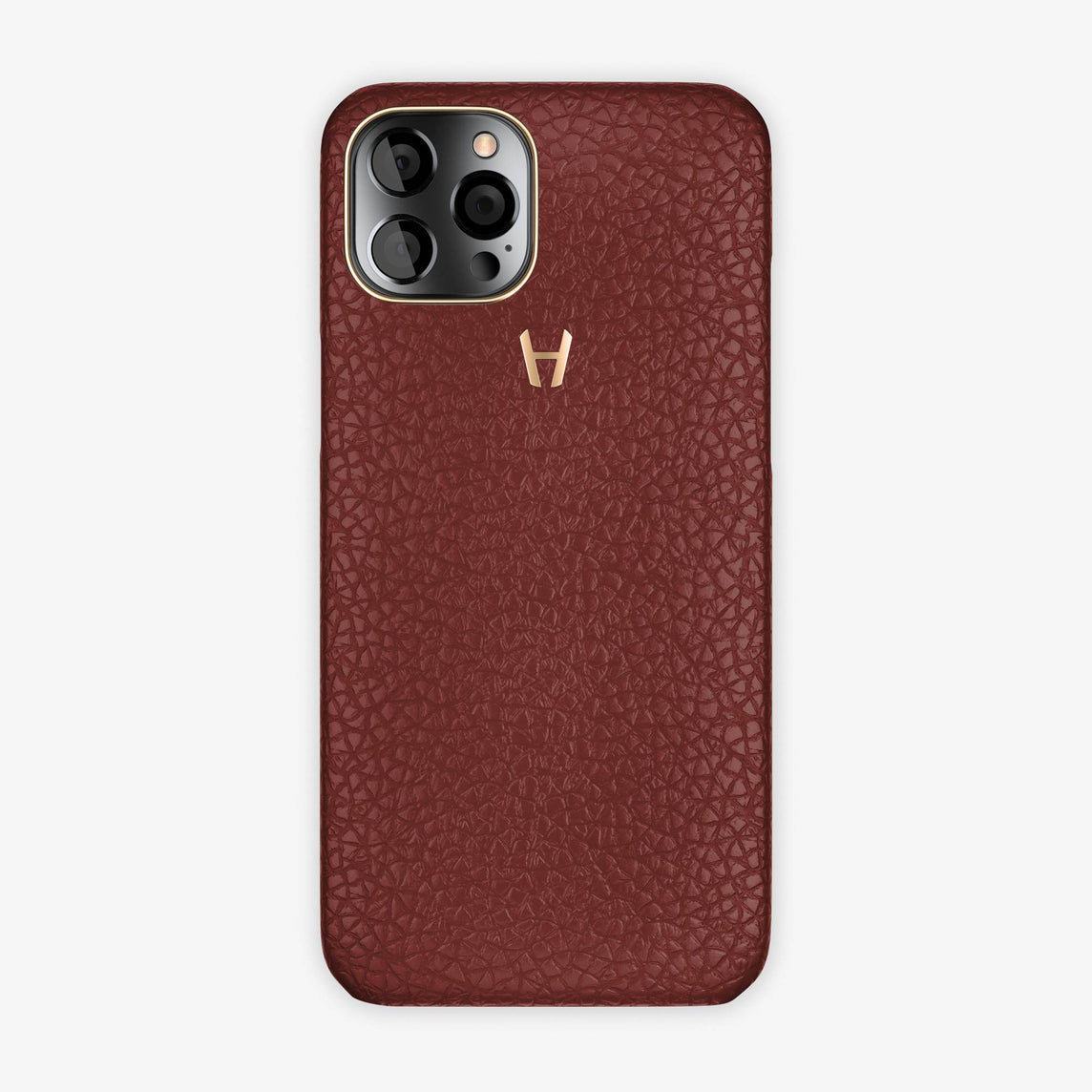 Calfskin Case Apple iPhone 12 Pro Max | Burgundy - Rose Gold