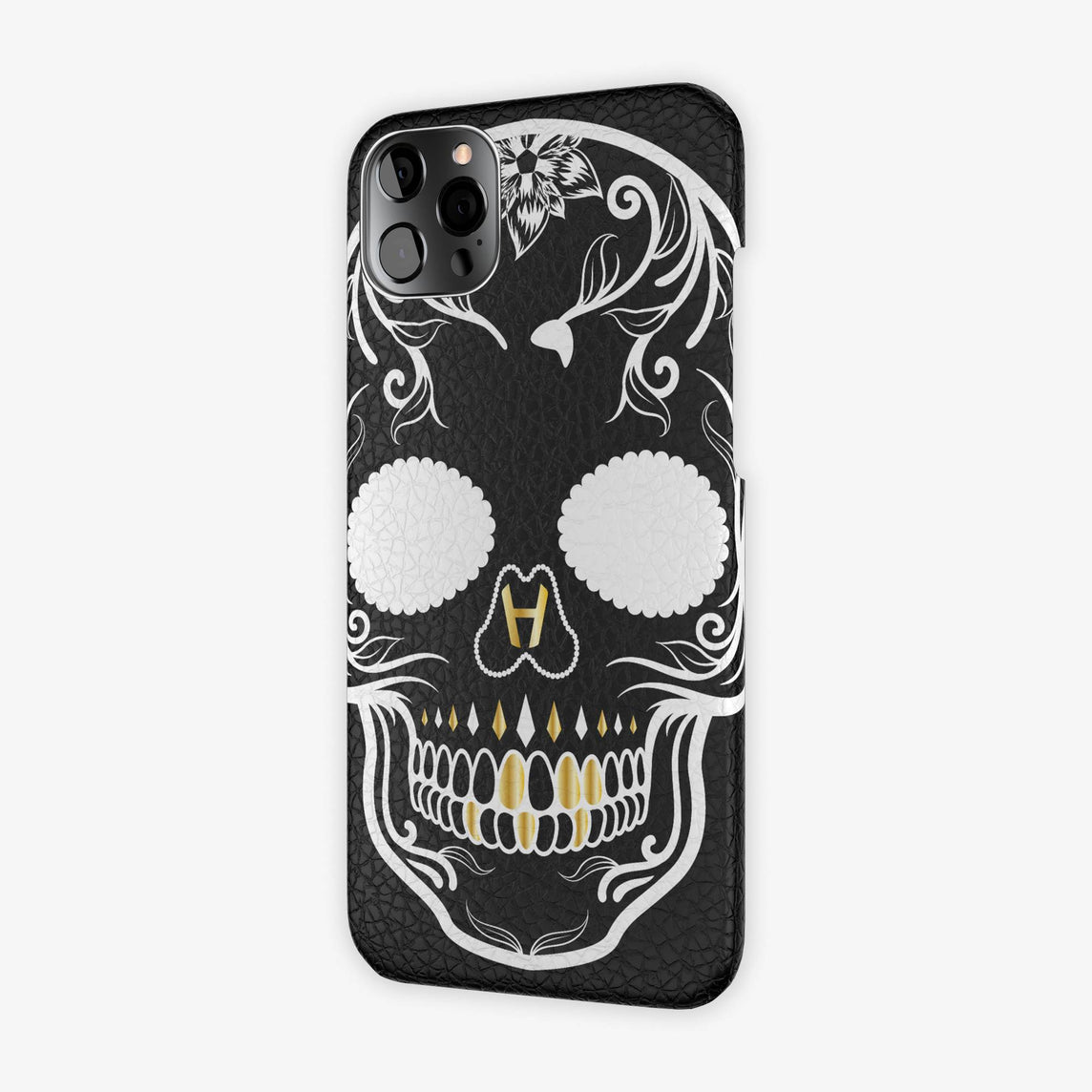 Calfskin Case Skull iPhone 12 Pro Max | White - Stainless Steel