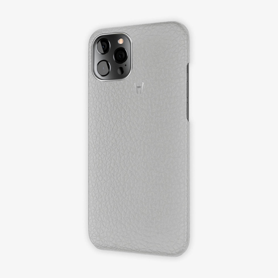 Calfskin Case Apple iPhone 12 Pro Max | Grey Pearl - Stainless Steel