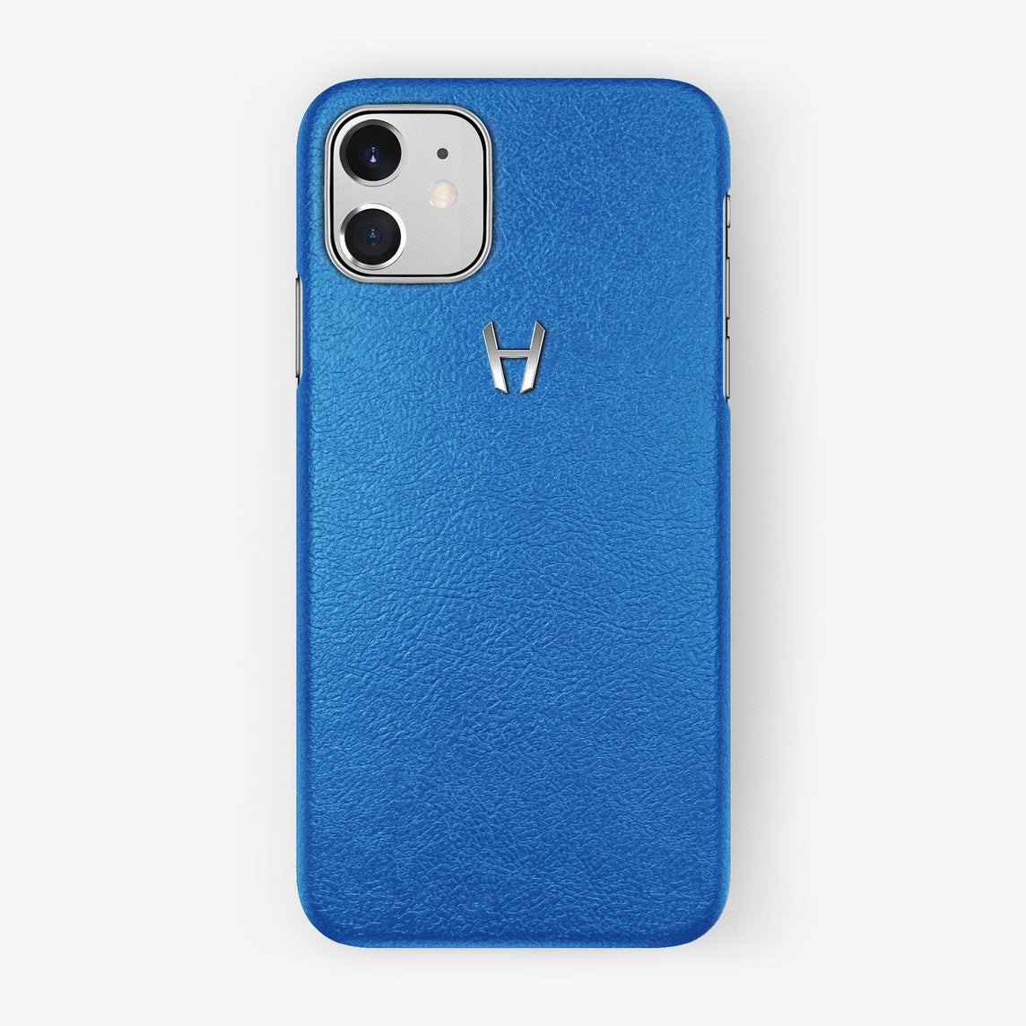 Calfskin Case iPhone 11 | Blue Lagoon - Stainless Steel