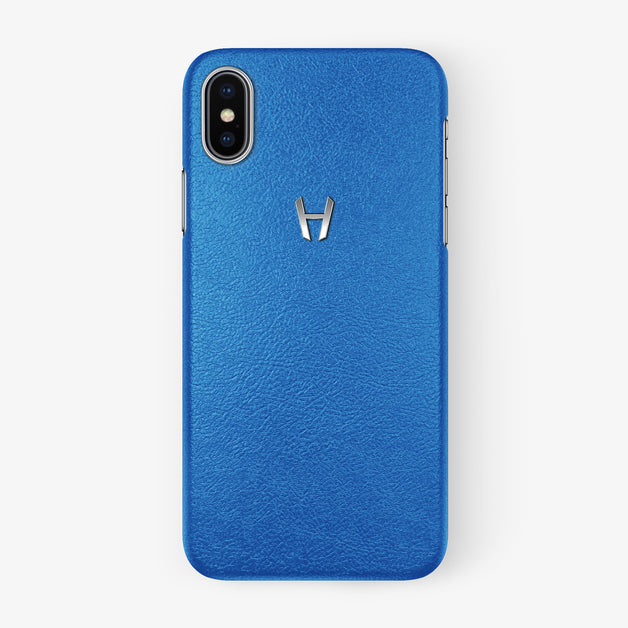 Calfskin Case Apple iPhone X/Xs | Blue Lagoon - Stainless Steel