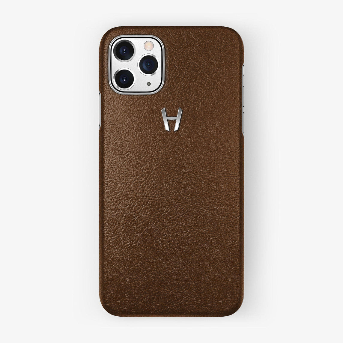 Calfskin Case iPhone 11 Pro | Brown - Stainless Steel