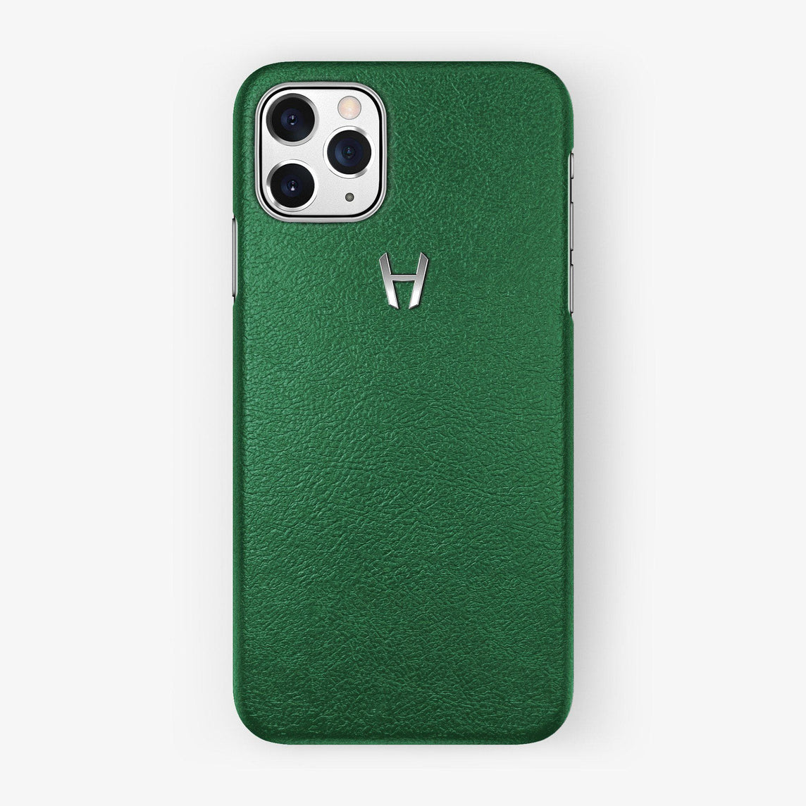 Calfskin Case iPhone 11 Pro | Green - Stainless Steel