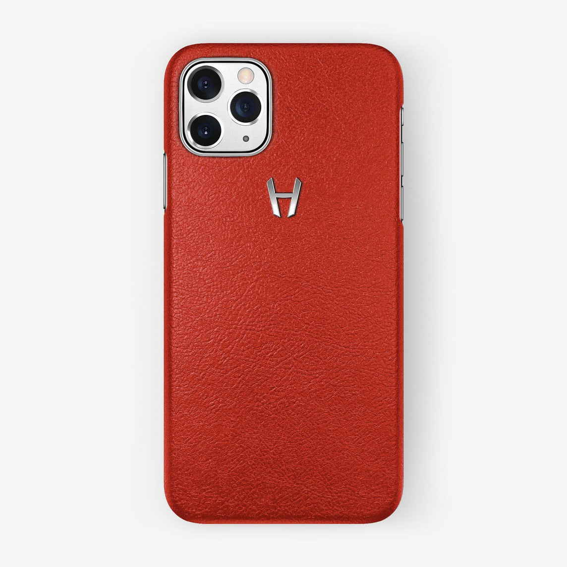 Calfskin Case iPhone 11 Pro | Red - Stainless Steel