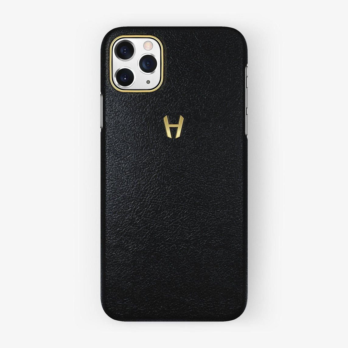 Calfskin Case iPhone 11 Pro Max | Black - Yellow Gold
