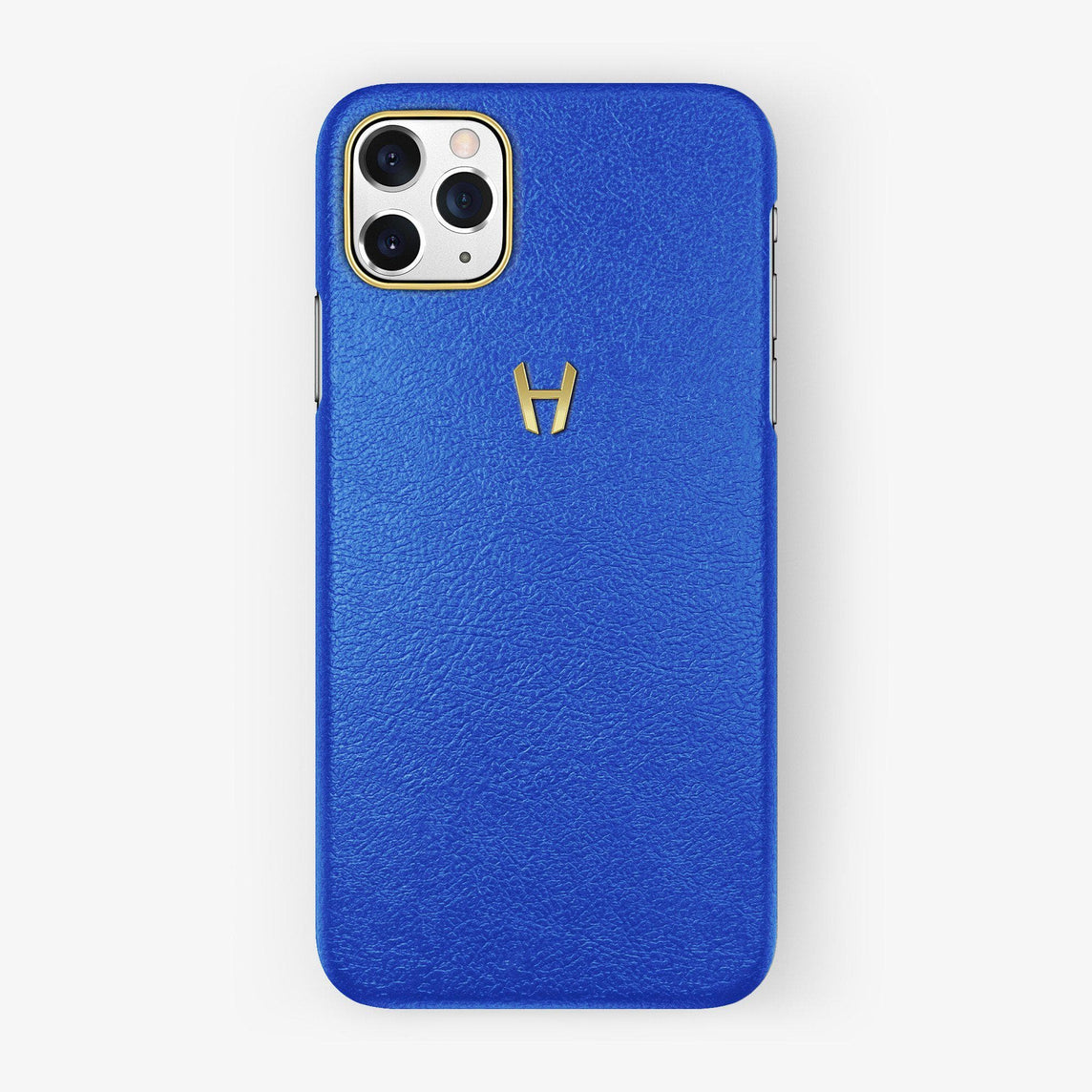 Calfskin Case iPhone 11 Pro Max | Peony Blue - Yellow Gold