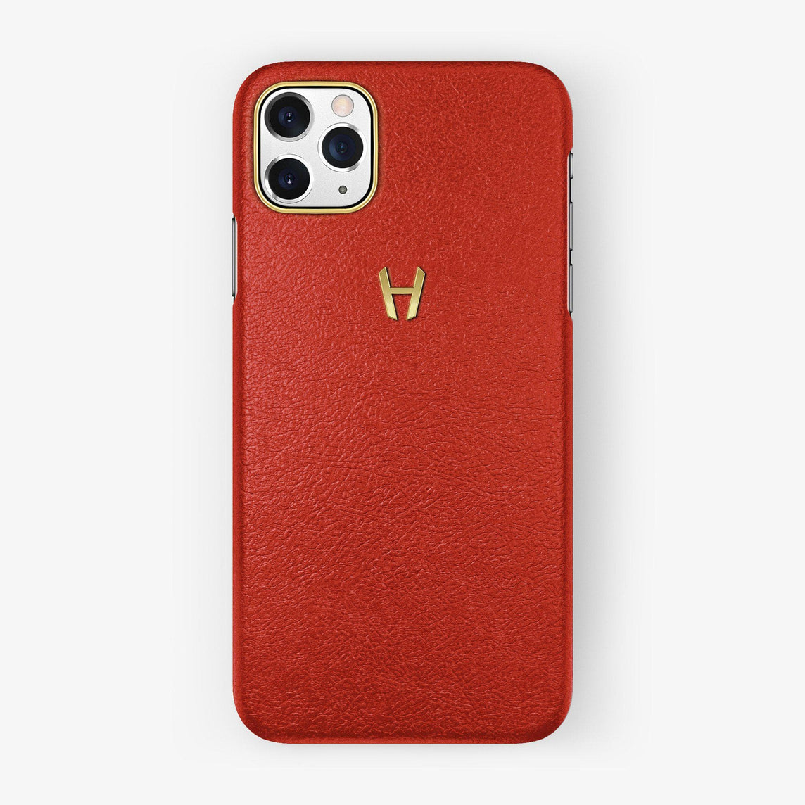 Calfskin Case iPhone 11 Pro Max | Red - Yellow Gold