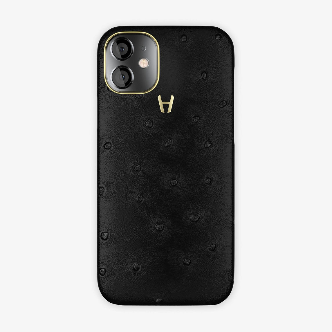 Ostrich Case iPhone 12 Mini | Black  - Yellow Gold