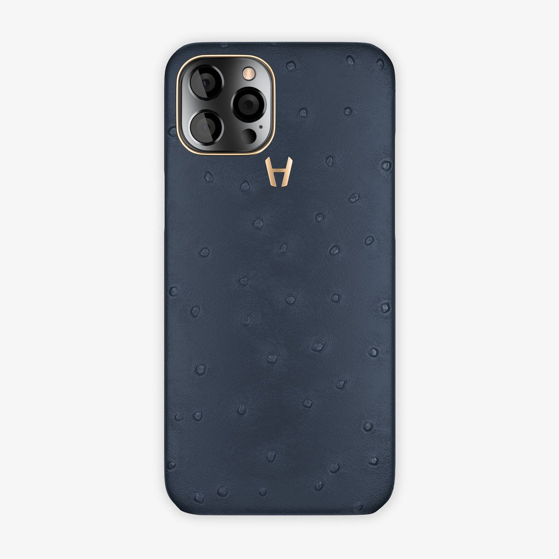 Ostrich Case iPhone 12 Pro Max | Navy Blue - Rose Gold