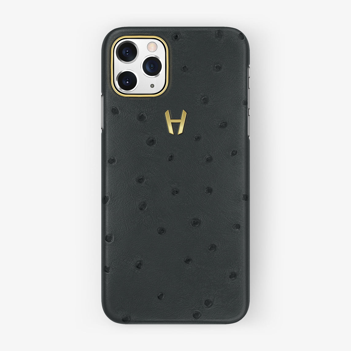 Ostrich Case iPhone 11 Pro | Anthracite Grey - Yellow Gold