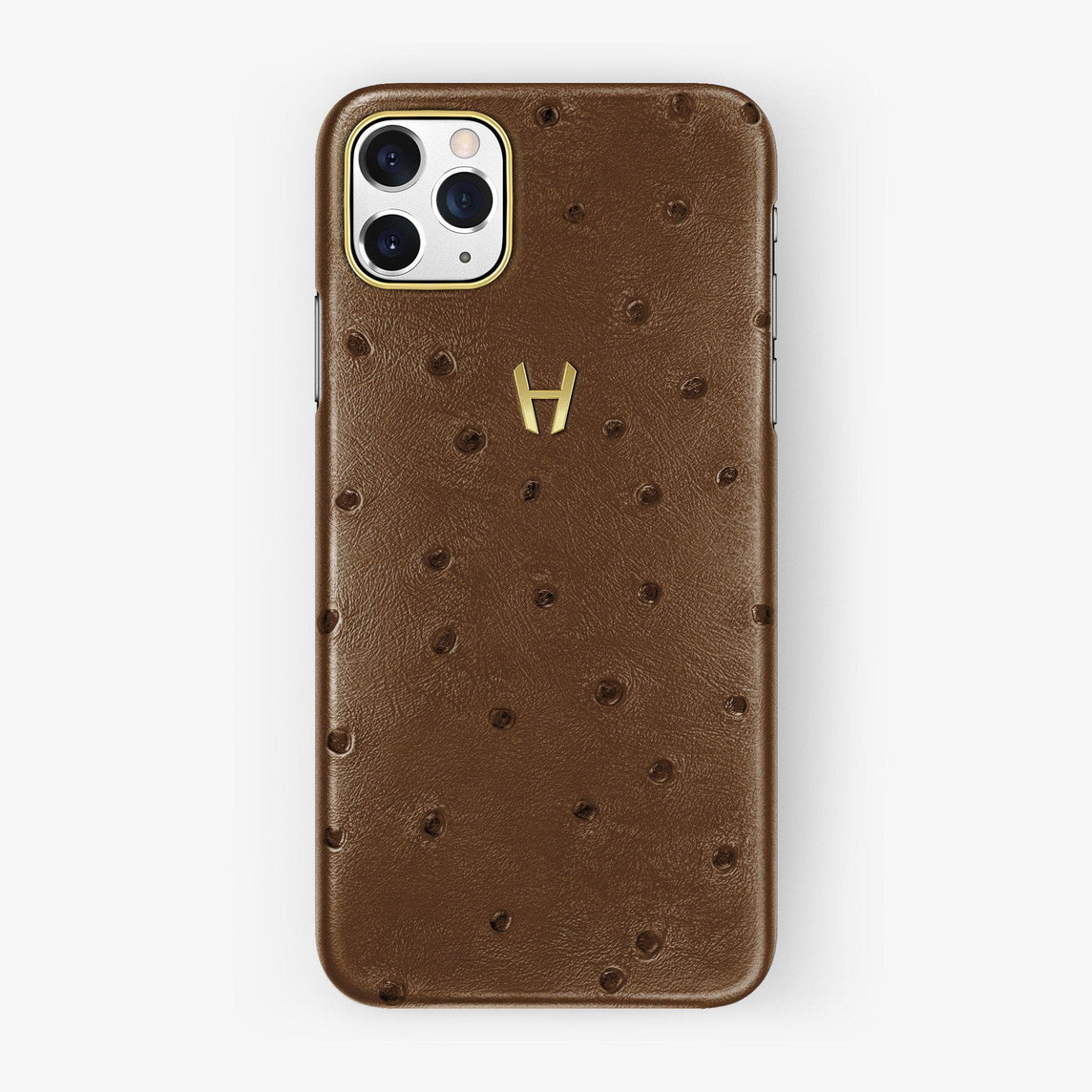 Ostrich Case iPhone 11 Pro Max | Tobacco - Yellow Gold