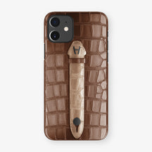 Alligator Centered Finger Case Phone 11  | Brown/Latte - Black