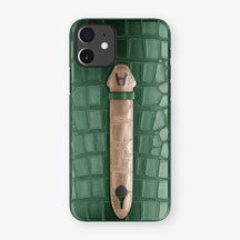 Alligator Centered Finger Case Phone 11  | Green/Latte - Black