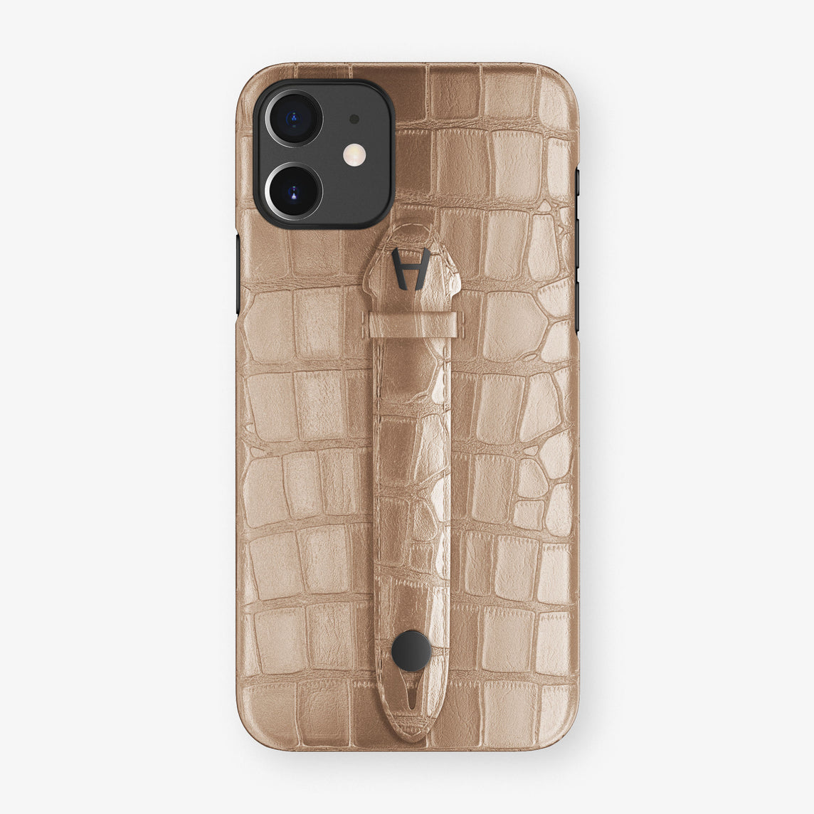 Alligator Centered Finger Case Phone 11  | Latte/Latte - Black