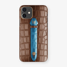 Alligator Centered Finger Case Phone 11  | Brown/Blue-Lagoon - Rose Gold