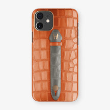 Alligator Centered Finger Case Phone 11  | Orange-Sunset/Grey - Rose Gold