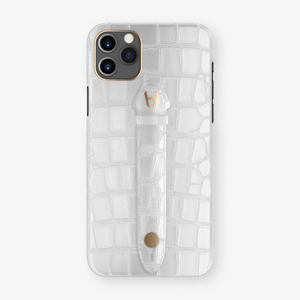 Alligator Centered Finger Case Phone 11 Pro Max  | White/White - Rose Gold