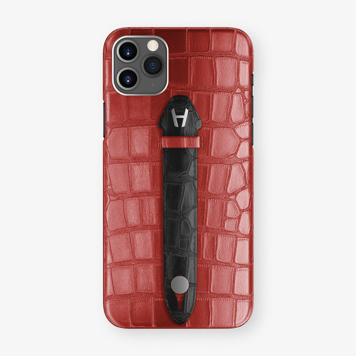 Alligator Centered Finger Case Phone 11 Pro Max  | Red-Ruby-Nacre/Black - Stainless-Steel