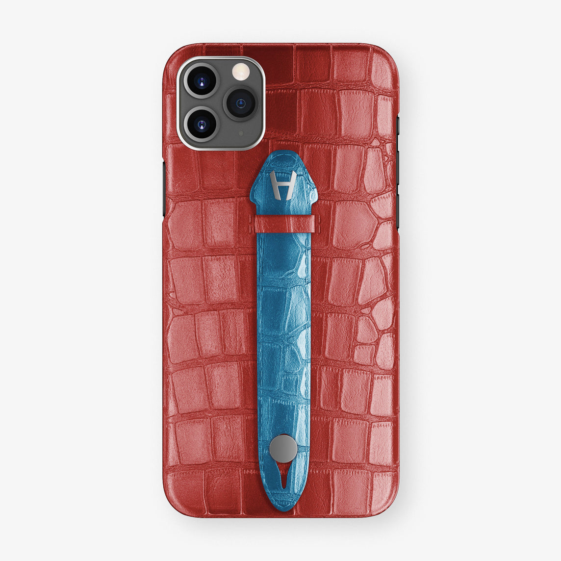 Alligator Centered Finger Case Phone 11 Pro Max  | Red-Ruby-Nacre/Blue-Lagoon - Stainless-Steel