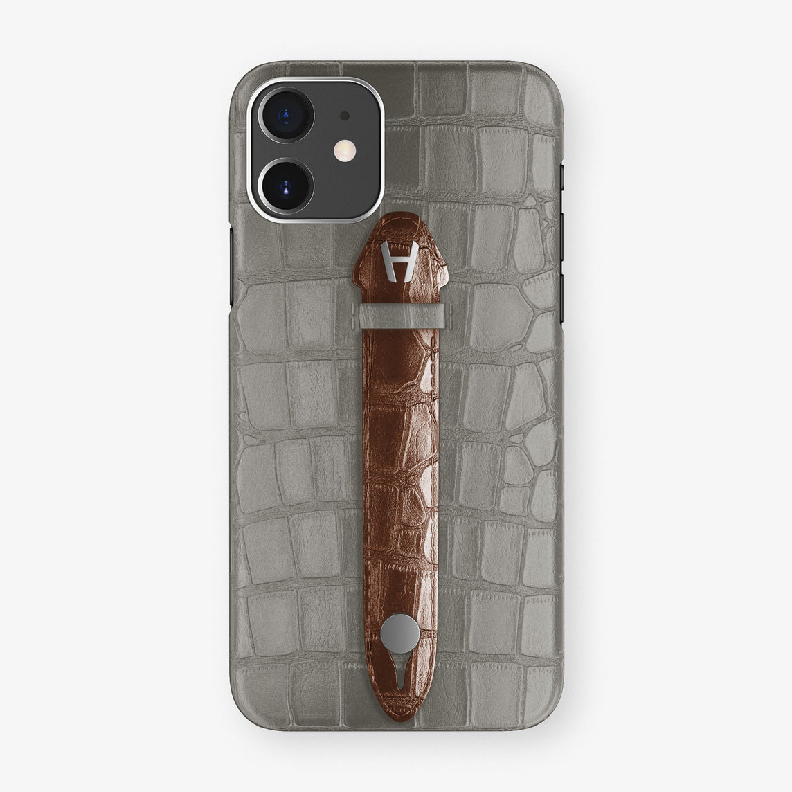 Alligator Centered Finger Case Phone 11  | Grey/Brown - Stainless Steel