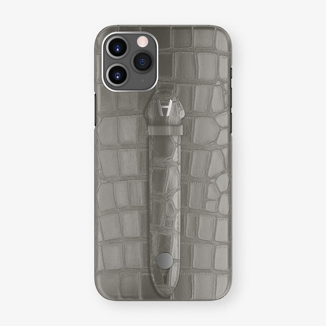 Alligator Centered Finger Case Phone 11 Pro  | Grey/Grey - Stainless-Steel