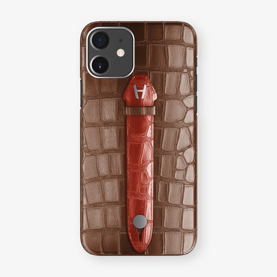 Alligator Centered Finger Case Phone 11  | Brown/Red - Stainless Steel