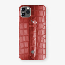 Alligator Centered Finger Case Phone 11 Pro Max  | Red-Ruby-Nacre/Red-Ruby-Nacre - Stainless-Steel