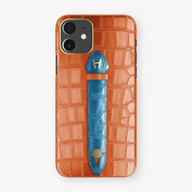 Alligator Centered Finger Case Phone 11  | Orange-Sunset/Blue-Lagoon - Yellow Gold