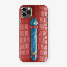 Alligator Centered Finger Case Phone 11 Pro Max  | Red-Ruby-Nacre/Blue-Lagoon - Yellow Gold