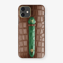 Alligator Centered Finger Case Phone 11  | Brown/Green-Emerald - Yellow Gold