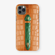 Alligator Centered Finger Case Phone 11 Pro Max  | Orange/Green-Emerald - Yellow Gold
