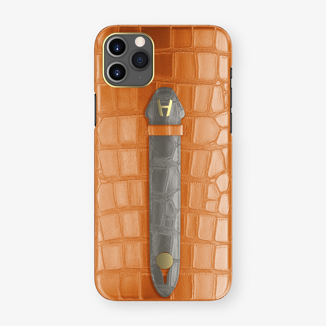 Alligator Centered Finger Case Phone 11 Pro Max  | Orange/Grey - Yellow Gold