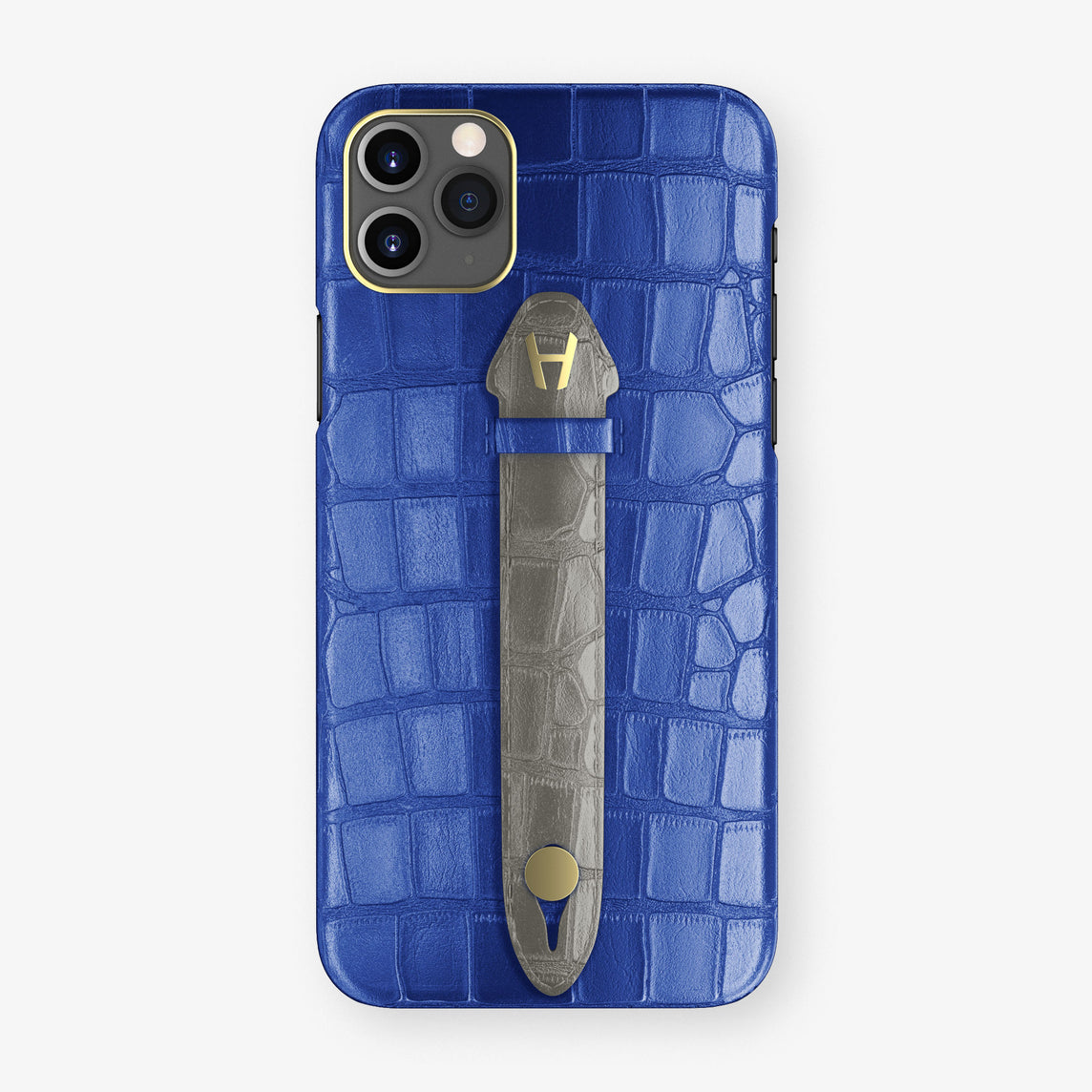 Alligator Centered Finger Case Phone 11 Pro Max  | Peony-Blue/Grey - Yellow Gold